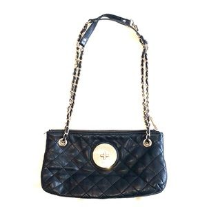 DKNY 100% Leather quilted purse with gold chain